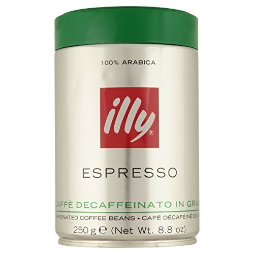 illy Caffe Decaffeinated Whole Bean Coffee (Medium Roast, Green Top) 8.8 coffee cans (Pack of 6) by Illy