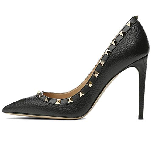 Borchia 10CM altoSlip On Punta Nera Donna Motivo Con con Pan Stiletto Pumps Borchie a Dress Elegante Pumps Punta Dorato Caitlin Tacco rivettato wTa8q0n