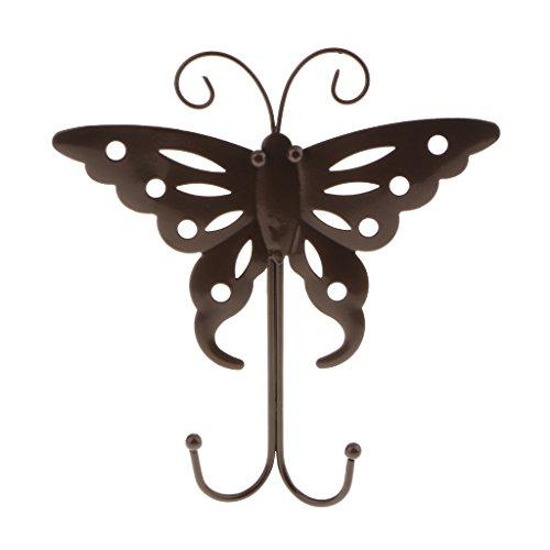 Homyl Butterfly Shape Towel/Coat Hook Rack Rail Shelf with Dual Hooks Robe Hanger Home Bathroom Storage Organizer Wall Mounted - Bronze