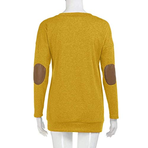 Special Shirt Patchwork Gelb Style Xl Tops Autunno Yhujh T Maniche Lunghe Gelb Basic Girocollo Top Camicetta Bottom color Donna Solid Size gPnqzB