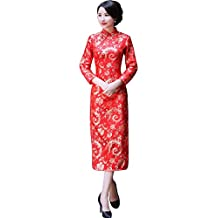 Shanghai Story Dragon Qipao Red Chinese Oriental Dress Long Cheongsam for Women