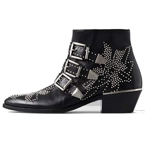 GEEDIAR Leather Ankle Boots,Women Low Heel Studded Mental Rivet Black Sliver Rivet Bootie Size 8 ()