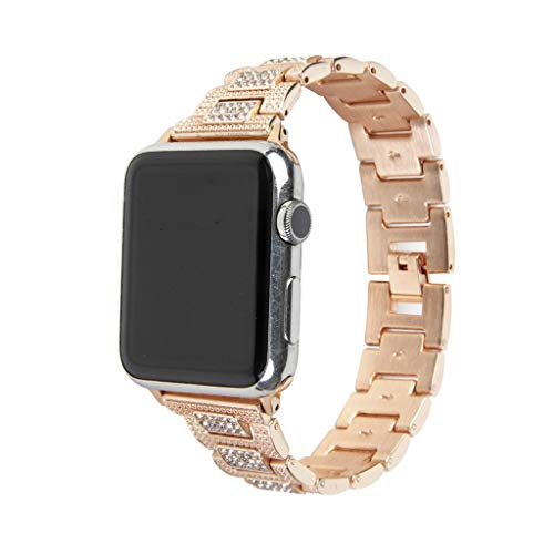 Cywulin Bling Band Bracelet Compatible for Apple Watch 40mm 44mm 38mm 42mm iWatch Series 4 3 2 1, Luxury Diamond Crystal Rhinestone Stainless Steel Replacement Wristband Link Strap (38mm/40mm, Gold)