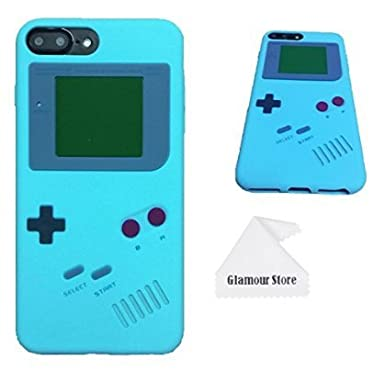 iPhone 8 Plus Case, Retro 3D Game Boy Gameboy Design Style Soft Silicone Cover Case for Apple iPhone 8 Plus 5.5 inch+ Free Cleaning Cloth As a Gift (Black) Glamour Store