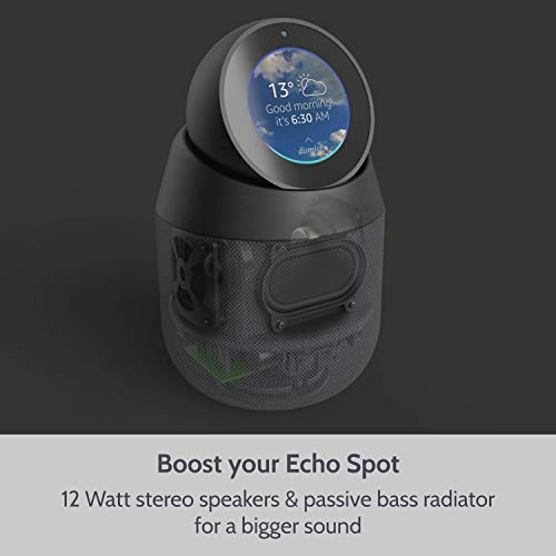Vault Portable Speaker Dock and Battery Base for Amazon Echo Spot with Removable Pivot Stand