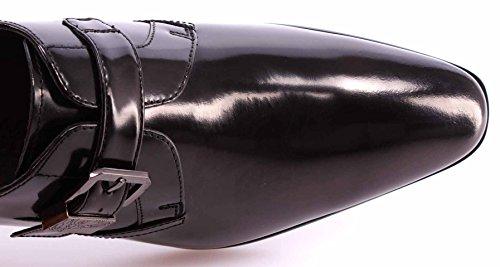 Scarpe Classiche Uomo VERSACE COLLECTION Pelle Nera Eleganti Fibbia Logo Nuove