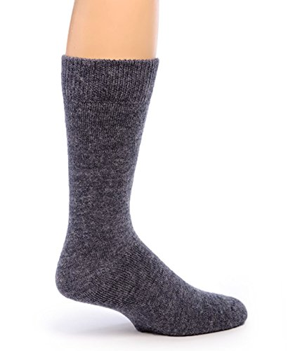 - Warrior Alpaca Socks - Men's Outdoor Alpaca Wool Socks, Terry Lined with Comfort Band Opening (Denim L)