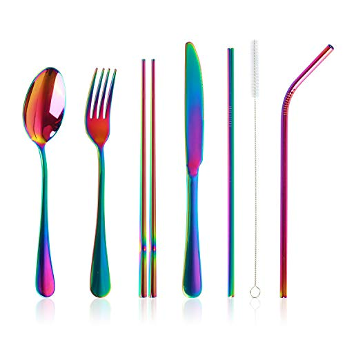 Stainless Steel Flatware Set Reusable Cutlery Set Travel Utensils Set with Straws for Camping Office or School Lunch,Dishwasher Safe (Rainbow)