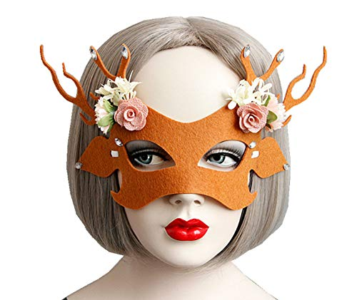 Sunling Cute Light Weight Christmas Holiday Antlers Reindeer Masquerade for Work School Parties Perfect Custume Cosplay Mask Headpieces for Women Adult Kids Enjoy Orgy Party by All -