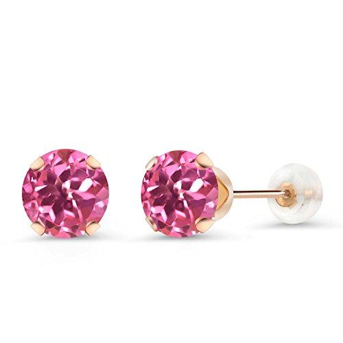 Gem Stone King 2.00 Ct Round 6mm Pink Mystic Topaz 10K Rose Gold Stud Earrings