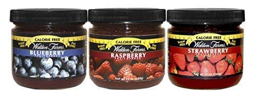 Walden Farms Calorie Free Fat Free Gluten Free Sugar Free Fruit Spreads (Raspberry-Blueberry-Strawberry,(1 Jar EACH) by Walden Farms ()