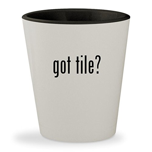 got tile? - White Outer & Black Inner Ceramic 1.5oz Shot Glass (Ceramic Porcelanosa Tile)