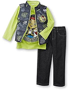Jake & The Neverland Pirates Toddler Boys 3 Piece Outfit - Vest, Shirt, Pants