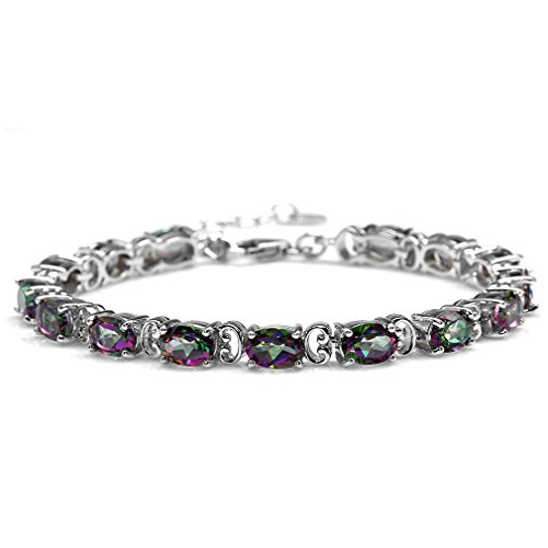 - 13.2ct. Mystic Fire Topaz White Gold Plated 925 Sterling Silver 6.75-8.25 Inch Adjustable Bracelet