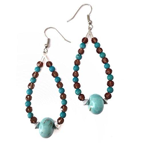 Imitation Turquoise and Brown Beaded Teardrop Western Look Earrings ()