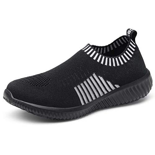 konhill Women's Casual Walking Shoes Breathable Mesh Work Slip-on Sneakers, Black, 45