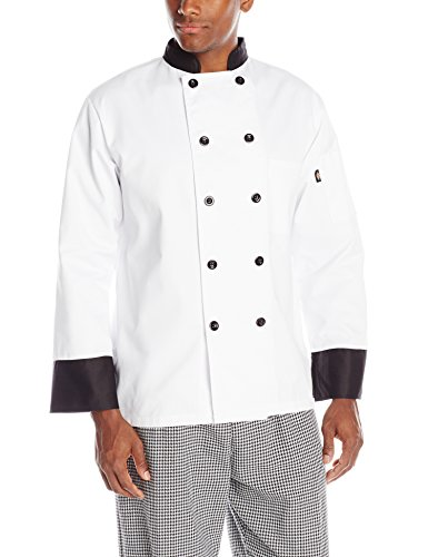 Chef Trim Shirt (Dickies Men's 10 Chef Coat with Black Buttons and Trim, White, X-Large)