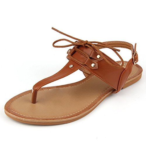 MuDan Women T-Strap Casual Wear Gladiator Slingback Flit Flops Sandal (7 B(M) US, Tan)