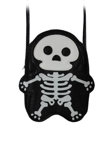 Premium Leatherette Skeleton Shoulder Bag in Black (Halloween Purses)