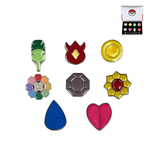 Pocket Monster Generation 1 Kanto Region Gym Badge Collection Box Set of 8PCS, Gift for Boy and Girls (Badges Pins)