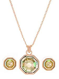 Swarovski Elements Women's 18K Gold Plated Emerald Cut Design Crystal Jewelry Set Jewelry Sets [SKRS-022]