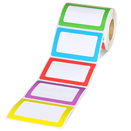 Methdic 5 Colors Adhesive Name Tag Labels, 500 Stickers 3.5