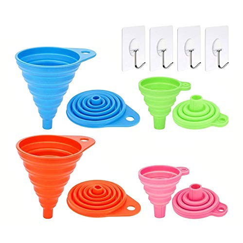 Infree Collapsible Funnel Set of 4,Small and Large, Flexible Silicone Foldable Kitchen Funnel for Liquid/Powder Transfer,100% Food Grade Silicone Bpa Free Cooking Silicone Funnels with 4 Wall Hooks