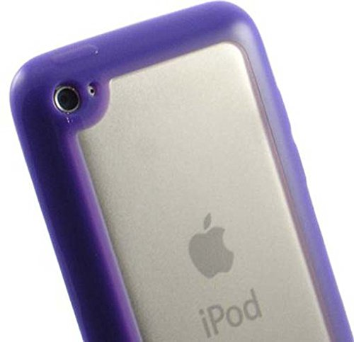Hybrid TPU Skin Cover for iPod touch (4th gen.), Purple & Clear (4th Gen Ipod Case Purple)
