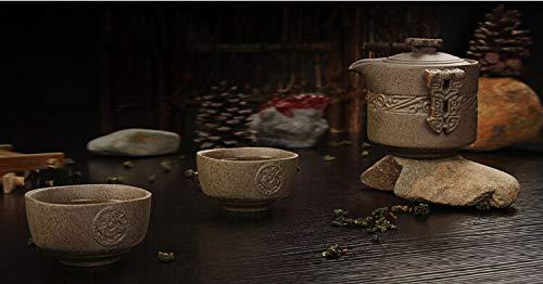 retro Rough pottery travel tea set 2 cups+1 pot,handmade ceramic teapot kettle porcelain tea cup, tea cup teapot