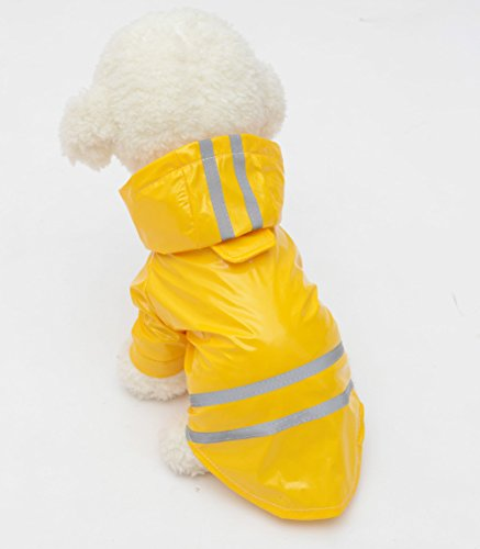 Image of Topsung Dog Raincoat Pet Poncho with Hood Waterproof Rain Coat Jacket for Small Dogs