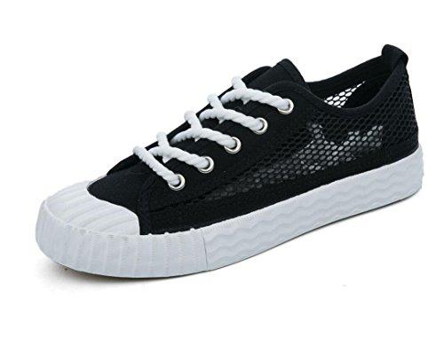 XIE Lady Shoes Permeabilidad Simple Color Sólido Ocio Zapatos de Lona Movimiento Red Estudiantes Escuela de Verano Tres Colores, 35 BLACK-35