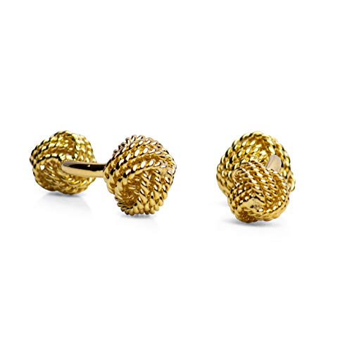(14K Yellow Gold Plated Sterling Silver Love Knot Cufflinks)