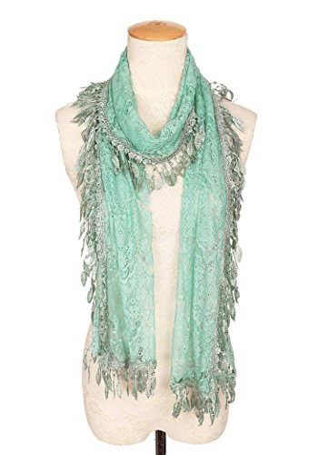 MissShorthair Floral Print Lace Scarfs for Women with Fringes (Green Luck Leaf) - Green Crochet Scarf