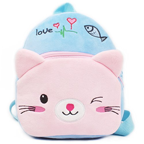 IFLIFE Toddler School Bag Animal Plush Nursery Shoulder Backpack For Baby 1-2 Years (Blue Cat)