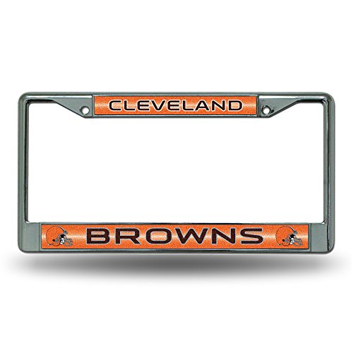 NFL Cleveland Browns Bling Chrome License Plate Frame with Glitter ()