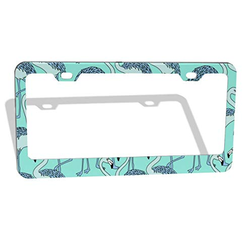 Flemish Picture Drawing Summer Pattern Background 2pcs Aluminium Oxide License Plate Cover Waterproof Car Plate Tag Frame Bumper Guard,Custom US 50 State General License Plate Frame Round/Flat Holes