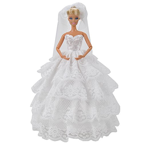 Bride Doll Clothes (E-TING Fashion Handmade Wedding Evening Party Dress Clothes Gown Veil For Barbie Dolls Gift)