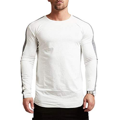 Magiftbox Men's Long Sleeve Raglan Pullover Sweatshirts Lightweight Active Gym Workout T-Shirts T13_White_US-M ()