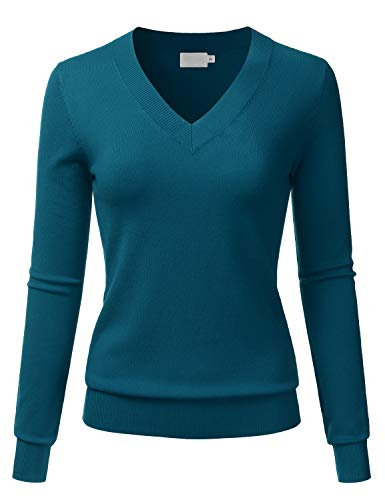 LALABEE Women's V-Neck Long Sleeve Soft Basic Pullover Knit Sweater Teal L (Mossimo 3/4 Sleeve Sweater)