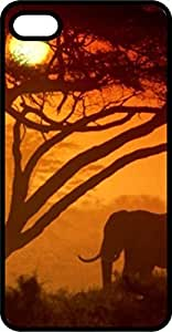 MMZ DIY PHONE CASEElephant In Sunset With Tree Black Rubber Case for Apple ipod touch 5