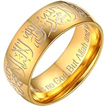 316L Stainless Steel Comfort Fit Wedding Band Mantra Muslim Shahada Ring golden