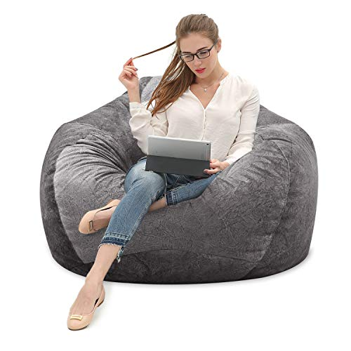 Chair Gray Bean Bag (MFTEK Bean Bag Chair Cover Only, Large Washable Memory Foam Furniture Bean Bag with Wash Bag, Without Bean Filling, 43.3''×43.3''×47.2'' (Gray))