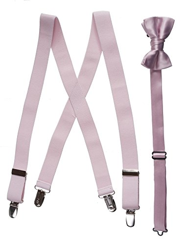 Matching Blush Pink Adjustable Suspender and Bow Tie Sets, Kids to Adults Sizing (Toddlers 25″ (Ages 2-5))