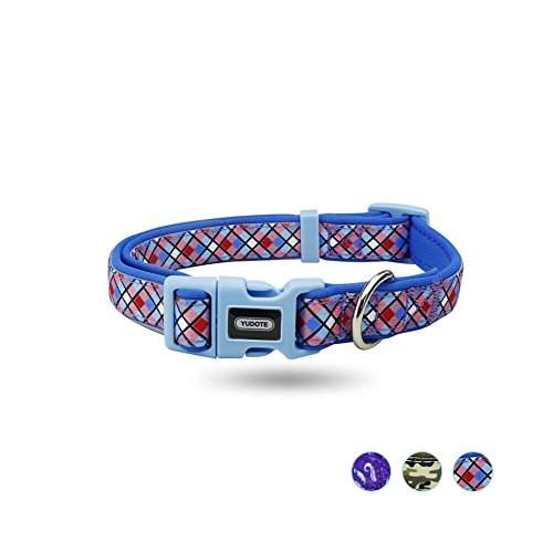 Blue Plaid Leather Dog Collar - YUDOTE Multiple Patterns Collection Durable Padded Dog Collar with Multi-Colored Rhombus Plaid Pattern Print, Soft and Comfortable Adjustable Collars for Dogs & Puppies (Blue,Small)