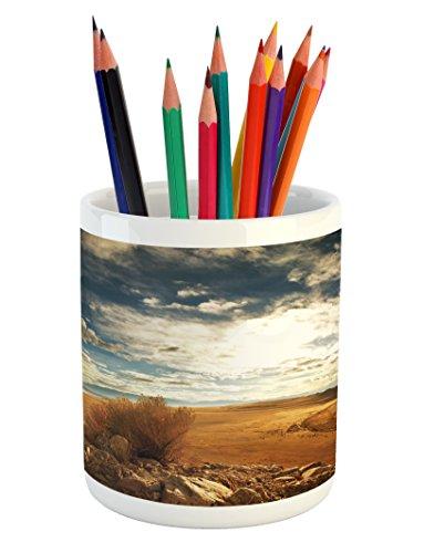 (Lunarable Landscape Pencil Pen Holder, Prairie Hot USA Mississippi River Valley with Idyllic Summer Season View Image, Printed Ceramic Pencil Pen Holder for Desk Office Accessory, Orange Blue)