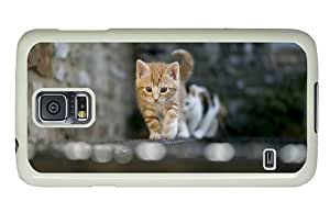 Hipster Samsung Galaxy S5 Case custom made covers cute kitty cat PC White for Samsung S5