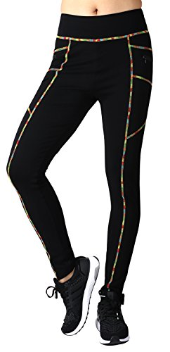 Neonysweets Womens Legging Sports Workout Tights Running Yoga Pants Black L