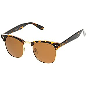 zeroUV - Polarized Half Frame Semi-Rimless Horn Rimmed Sunglasses (Polarized   Tortoise / Brown)