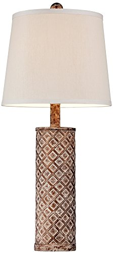 Gisele Gold Wash Lattice Column Table Lamp Set of 2