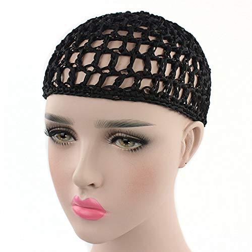 Mimgo Womens Mesh Hair Net Crochet Cap Solid Color Snood Sleeping Night Cover Turban